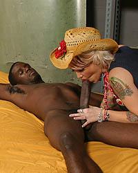 Cowgirl Riding The Dark-skinned Bull